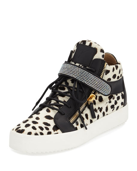 Calf-Hair Mid-Top Sneaker w/Swarovski Band