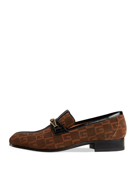 Suede Square G Loafer with Stripe