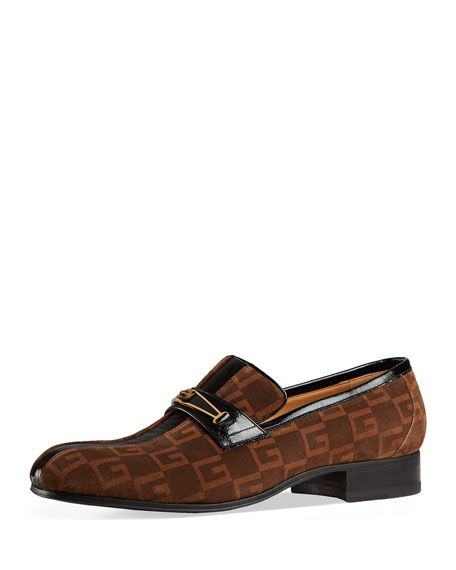 GUCCI Suede Square G Loafer With Stripe, Black