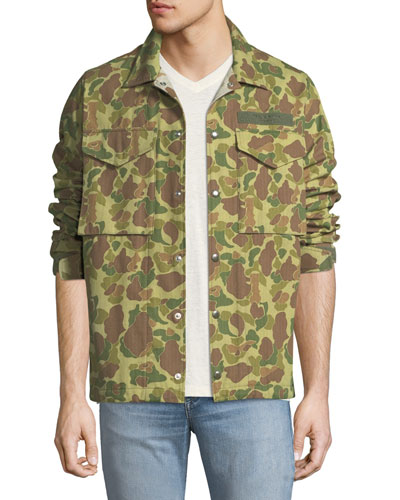 Men's Camouflage-Print Flight Shirt Jacket
