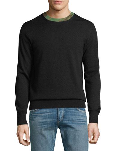 Men's Camouflage-Trim Wool Sweater