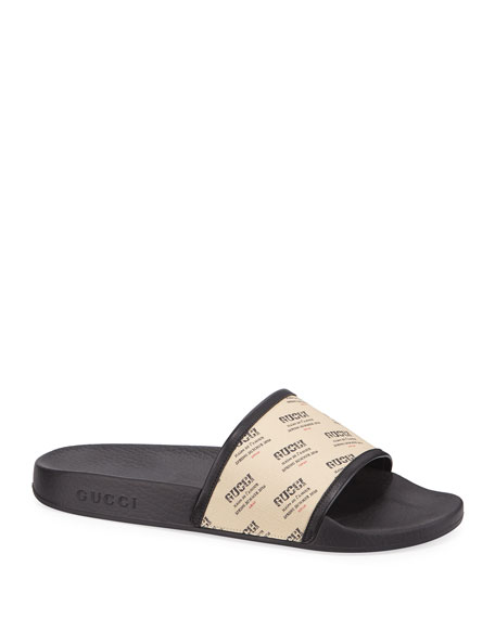 Pursuite Logo Print Rubber Slide Sandals, White