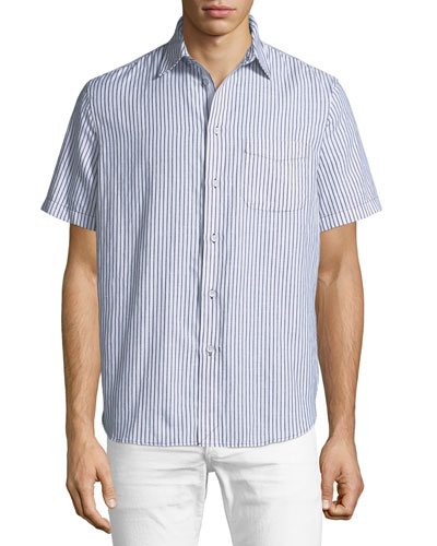 Men's Striped Short-Sleeve Beach Shirt