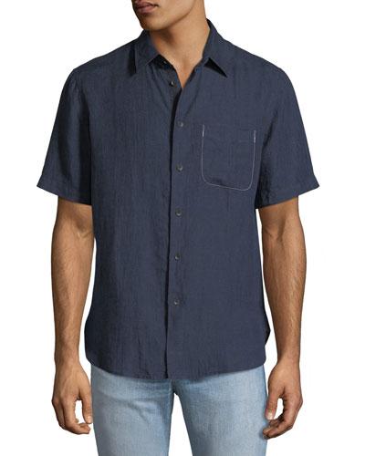 Men's Short-Sleeve Linen Beach Sport Shirt