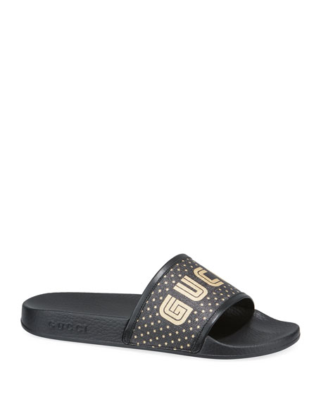 Logo-Print Leather-Trimmed Rubber Pool Slides, Black/Gold