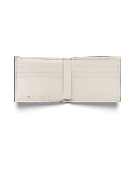 GUCCY Logo Bi-Fold Leather Wallet, White/Gold