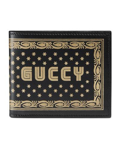 GUCCY Logo Bi-Fold Leather Wallet, Black/Gold