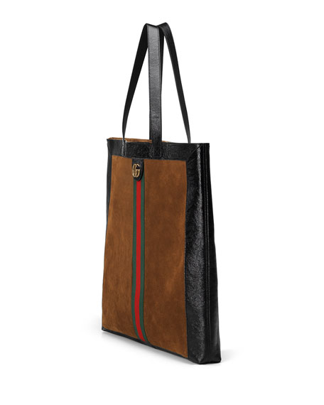 Web-Trim Suede Double-G Tote Bag