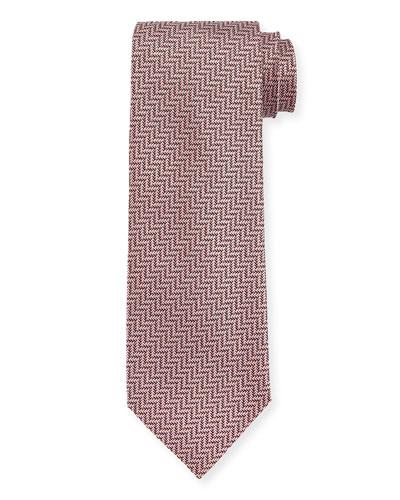 Tonal Zigzag Herringbone Silk Tie