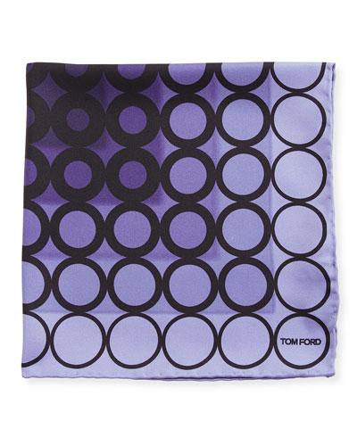 Dotted Silk Pocket Square, Dark Purple