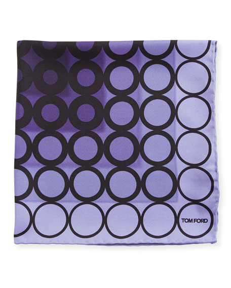 Dotted Silk Pocket Square, Dark Purple