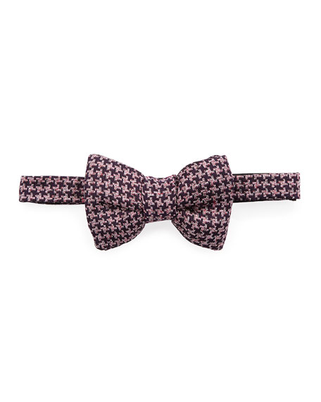 TOM FORD Classic Houndstooth Bow Tie, Dark Purple