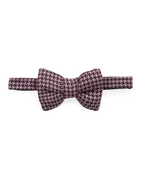 Classic Houndstooth Bow Tie, Dark Purple