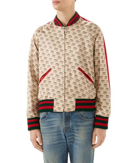 7ff49f4916d4 Gucci Logo-Print Blouson Bomber Jacket
