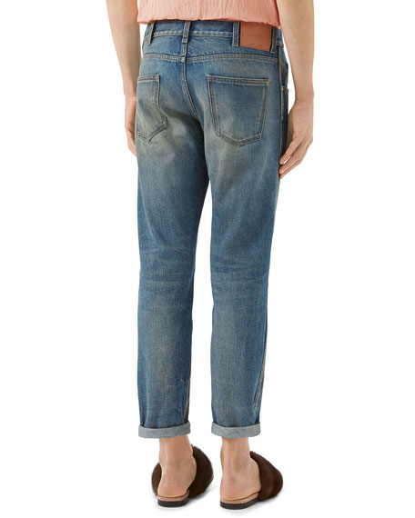 5-Pocket Tapered-Leg Distressed Jeans