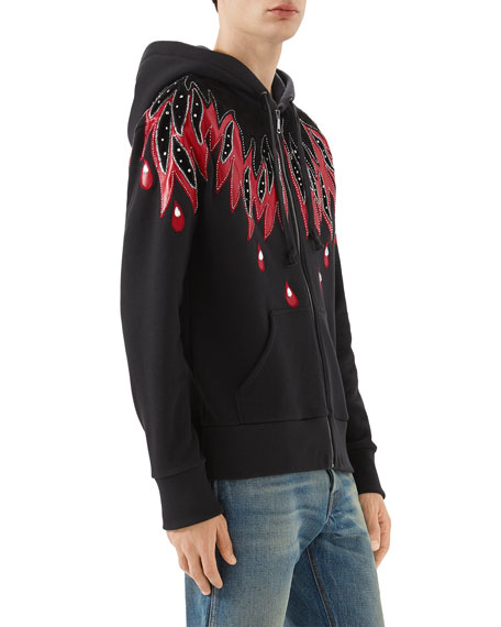 Flame-Patched Zip-Front Hoodie