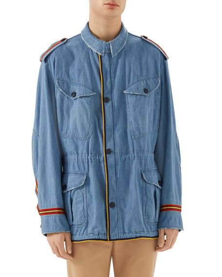 Gucci Guccy Striped-Trim Denim Parka Jacket