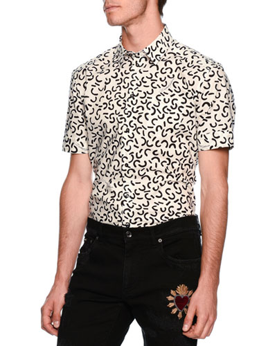 Geometric-Pattern Short-Sleeve Sport Shirt