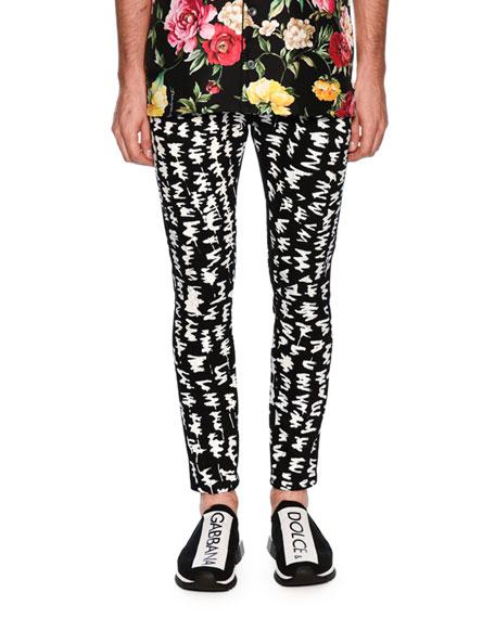 Graphic-Pattern Skinny Denim Jeans