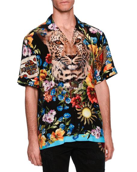 Graphic Silk Twill Camp Shirt