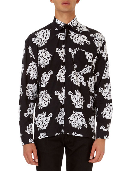 Allover Floral-Print Poplin Shirt