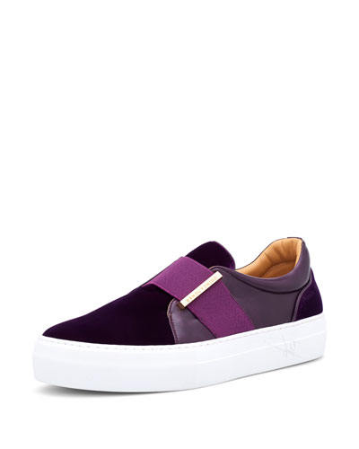 Men's 40 mm Band Quincy Leather & Velvet Slip-On Sneakers