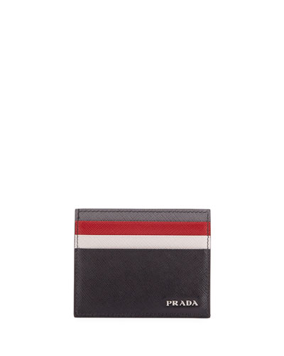 Saffiano Surf Colorblock Leather Card Case