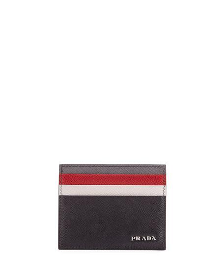 Saffiano Surf Colorblock Leather Card Case