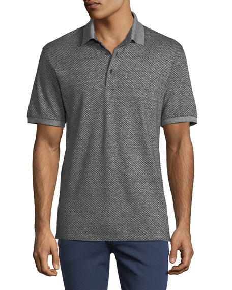 Men's Micro-Square Cotton/Linen Polo Shirt