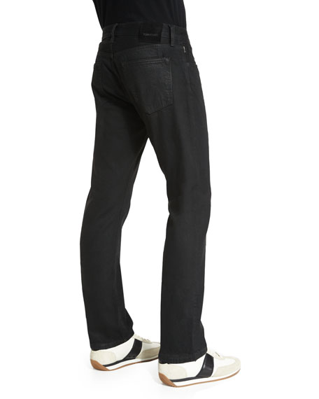 Straight-Fit Resin-Coated Selvedge Jeans, Black