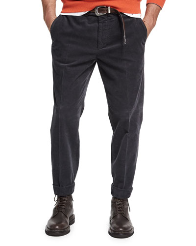 Corduroy Flat-Front Pants