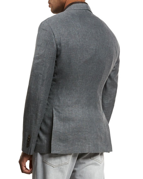 Three-Button Linen-Blend Check Sport Coat