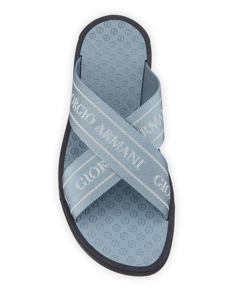 Men's Logo Jacquard Thong Sandals, Blue