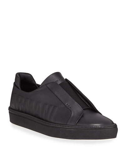 Logo-Embossed Slip-On Low-Top Sneaker, Black