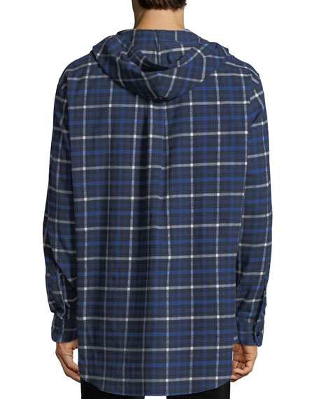 Hooded Plaid Flannel Button-Down Shirt, Blue