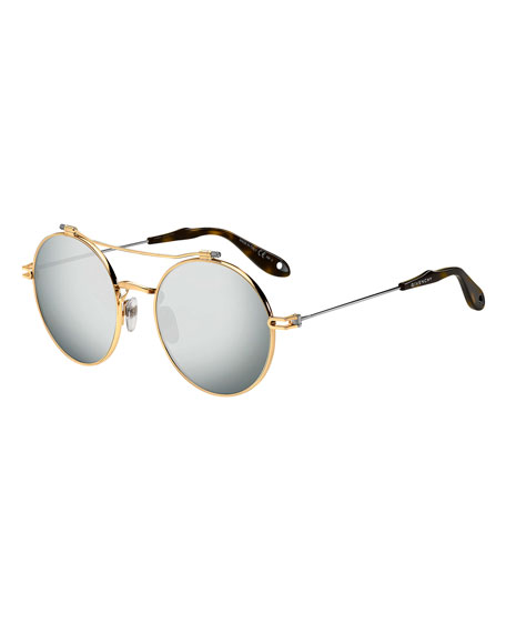 Givenchy Men's Round Mirrored Metal Sunglasses