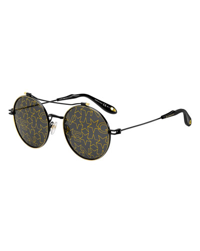 Men's Logo & Star Printed Round Sunglasses