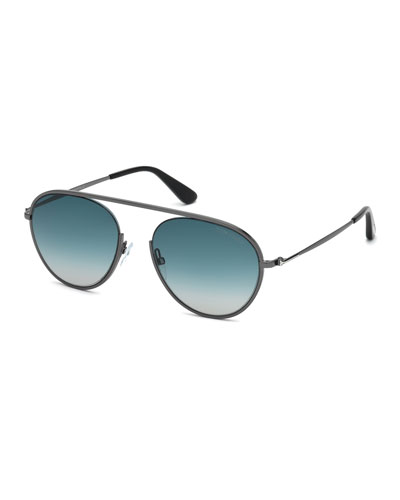 Keith Men's Round Brow-Bar Metal Sunglasses, Gray Pattern