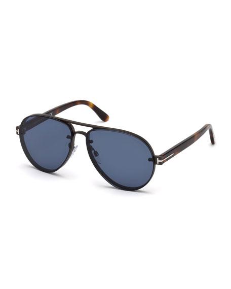 TOM FORD Alexei Metal Aviator Sunglasses