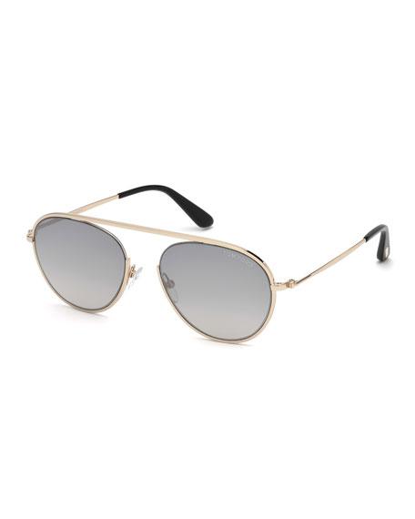 TOM FORD Keith Men's Round Brow-Bar Metal Sunglasses,