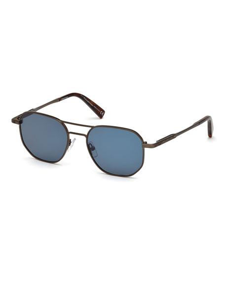 Ermenegildo Zegna Square Metal Aviator Sunglasses, Blue Pattern