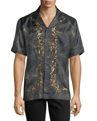 Carlton Embroidered-Trim Swirl Short-Sleeve Sport Shirt