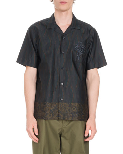 Carlton Embroidered-Pocket Short-Sleeve Shirt