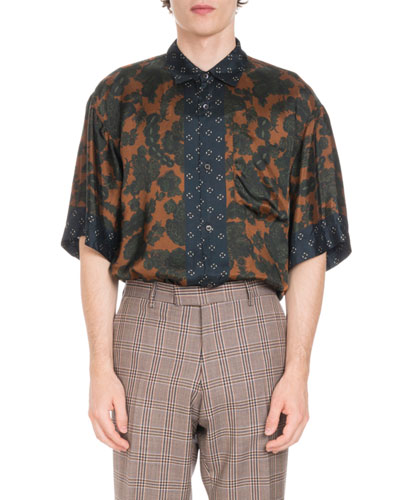 Floral-Print Satin Sport Shirt with Geometric Trim