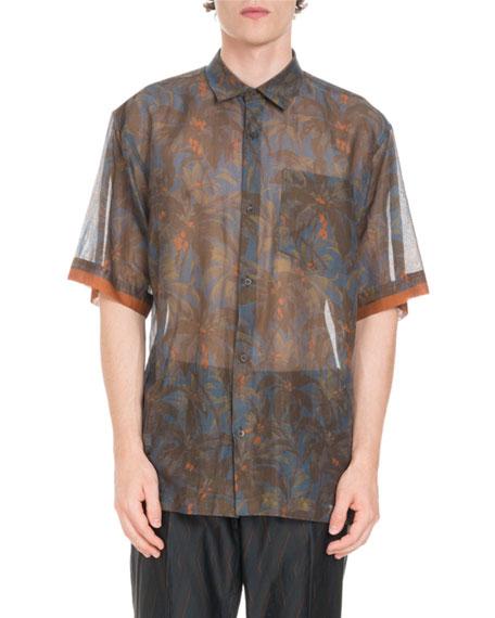 Semisheer Floral-Print Voile Shirt