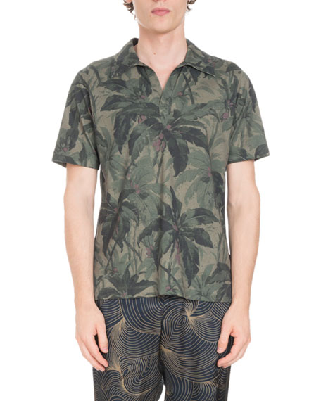 61c7ac8276 Dries Van Noten Floral-Print Open Polo Shirt