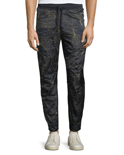 Swirl-Print Front Pull-On Sweatpants