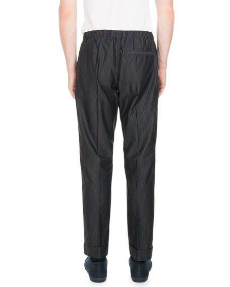 Perkino Diamond-Print Drawstring Waist Pants