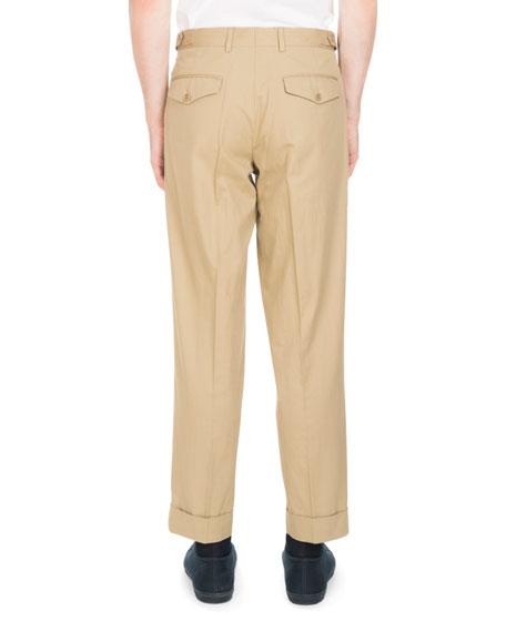 Philip Tab-Waist Flat-Front Pants