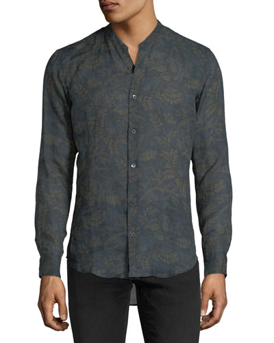 Floral-Print Band-Collar Sport Shirt